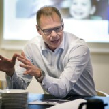 Nykredits koncernchef Michael Rasmussen møder sine utilfredse kunder til en debat om Nykredits nye forretningsstrategi. 24. februar 2016.