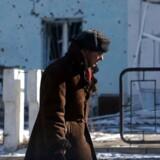 En beskadiget politistation i byen Donetsk.