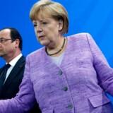 Aflytningsskandalen truer med at overskygge EU-topmødets egentlige dagsorden. Frankrigs François Hollande og Tysklands Angela Merkel vil drøfte sagen, som sætter skår i forholdet til USA. Arkivfoto: Johannes Eisele, AFP/Scanpix