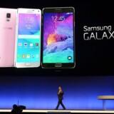Sydkoreanske Samsung er blandt de producenter, som lancerer megamobiler i kategorien phablets. Her er det modellen Galaxy Note 4, der vises frem forud for Europas største forbrugerelektronikmesse IFA i Berlin.