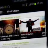 Den svenske musiktjeneste Spotify er en del af visse mobilabonnementer. Arkivfoto: Jonathan Nackstrand, AFP/Scanpix