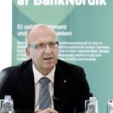 Janus Petersen, administrerende direktør i BankNordik fortæller om bankens overtagelse af de sunde dele af Amagerbanken på et pressemøde fredag d. 1 juli 2011 i København. (se diverse Ritzau historier) (Foto: Liselotte Sabroe/Scanpix 2011)