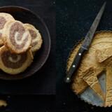 Krydderspiraler og Juleskærekage med kirsebær, mandler og marcipan.