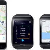 Nokias korttjeneste Here rykker nu ind på Android men kun på Samsungs Galaxy-telefoner (til venstre) samt på Samsungs Gear S-ur, der kører på Samsungs eget styresystem Tizen. Foto: Nokia