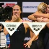 Arkivfoto: Den danske svømmekvartet med Mie Ø. Nielsen, Rikke Møller Pedersen, Jeanette Ottesen og Pernille Blume blev nummer to i deres heat i tiden tre minutter og 56,98 sekunder.