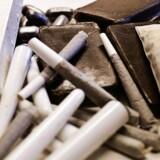 Beslaglagt narko fra kosterrummet på Politigården i København:kokain, joints, hash og heroin. Foto: Esben Salling