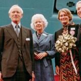 Billedet er fra 1981, hvor Karin Salling var gudmor for et nyt Mærskskib og æresgæst sammen med Herman Salling. Foto fra bogen