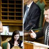 Under onsdagens afslutningsdebat i Folketinget har Dansk Folkepartis Pia Kjærsgaard ikke tænkt sig at sige noget, da hun nu er Folketingets formand. Her ses hun og daværende oppositionsleder Lars Løkke Rasmussen (V) under den seneste afslutningsdebat tilbage i 2014.