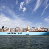 The MV Maersk Mc-Kinney Moller, the world's biggest container ship, arrives at the harbour of Rotterdam August 16, 2013.