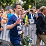 Kronprins Frederik kommer i mål på Frederiksberg Allé under »Royal Run« i København, mandag den 21. maj 2018. (foto: Martin Sylvest/Scanpix Ritzau 2018)
