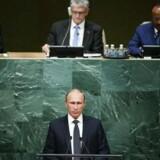 Ruslands præsident, ?Vladimir Putin, taler ved årets generalforsamling i FN, hvor han for første gang i to år skulle mødes med sin amerikanske kollega, Barack Obama.