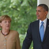 ARKIVFOTO. Den tyske kansler Angela Merkel og den amerikanske præsident Barack Obama 2. maj i Washington DC.