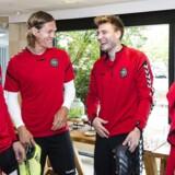 Nicklas Bendtner sammen med landsholdskollegerne Nicolai Jørgensen, Jannik Vestergaard og William Kvist.