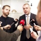 Finansminister Bjarne Corydon (S) og økonomi- og indenrigsminister Morten Østergaard (R) præsenterede fredag den nye pensionspakke. Foto: David Leth Williams/Scanpix 2014