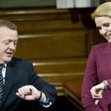 Statsminister Helle Thorning-Schmidt (S) og udfordreren Lars Løkke Rasmussen (V).