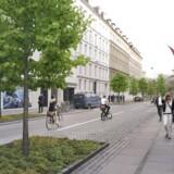 Visualisering af forslag til fremtidens Rømersgade set fra Frederiksborggade mod Botanisk Have. Visualisering: Gottlieb Paludan Architects A/S.