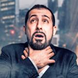 Rokoko2803 Man choking in a polluted city