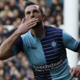 Paul Hayes nød en stjernestund af de sjældne, da han scorede to mål for Wycombe i første halvleg i udekampen mod Tottenham. Reuters/Darren Staples
