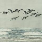 Johannes Larsen malede den store natur. Dette billede, der er fra 1910, hedder »Flyvende knortegæs«. Foto: PR