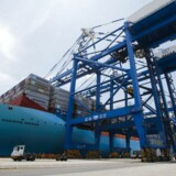 """Triple-E class container ship """"Madison Maersk"""" of Maersk Line loaded with containers is berthed at Nansha port in Guangzhou, Guangdong province June 26, 2014."""