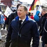 Anders Gravers ved anti-islam demonstration i Mølleparken i Århus. Arkivfoto.