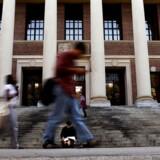 Studerende ses foran Widener Bibliotek på Harvard Universitet i Cambridge, Massachusetts, USA.