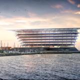 Sådan foreslår det internationalt anerkendte arkitektfirma Foster+Partners, at Ferrings nye forskningscenter ved siden af Den Blå Planet ud til Øresund skal se ud. Her bliver der 24.000 kvadratmeter til laboratorier og plads til 750 medarbejdere, hovedsageligt akademikere. Computertegning: Fosters+Partners