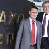 Kim Fournais (til venstre) og Lars Seier Christensen (til højre), medstiftere og adm. direktører i Saxo Bank.