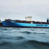 ARKIVFOTO: Verdens største containerskib på Langelinje Kaj i København.