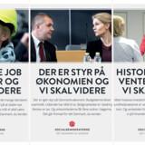 De næste par uger vil statsminister Helle Thorning-Schmidt (S) fylde godt i gadebilledet og avisannoncer med budskaber om økonomi, sundhed og kriminalitet. FOTO: Socialdemokratiet
