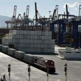 A freight train line at the port of Piraeus, outside Athens.