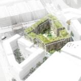 Den Grønne Karré, som AP Pension vil bygge for 400 millioner kroner, ligger ved siden af det kommende Nordea-hovedkontor (nederst til højre) og samt DR Pladsen og DR-byen (øverst). På nabogrunden ud mod metroen bygger en ukendt investor boliger.