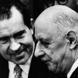 Den franske præsident Charles de Gaulle nedlagde veto mod briternes optagelse i EØF (som senere blev til EU). Storbritannien kom alligevel med i 1973 - samtidig med Danmark. AFP
