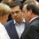 Kansler Merkel, premierminister Tsipras og præsident Hollande under søndagens møde i Bruxelles.