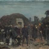 Otto Baches fine maleri af kongens besøg ved skansen ved Dybbøl. .