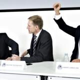 Lars Løkke, Kristian Thulesen Dahl og Anders Samuelsen hos Den Danske Publicistklub dagen efter valget.