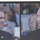 Ifølge en talsmand fra Det Hvide Hus opfordrede Obama sin kollega (Putin, red.) til at mindske spændingen mellem Rusland og Ukraine efter valget af Petro Porosjenko som ny præsident 25. maj. Her er sammensat billede af Obama og Putin på en storskærm under D-dag-markeringen i Frankrig 6. juni 2014.
