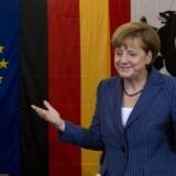Tysklandskansler, Angela Merkel, fra det konservative CDU efter at have afgivet sin stemme til europaparlamentsvalgetsøndag. Foto:JOHN MACDOUGALL