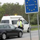 Arkivfoto. Grænsekontrol ved den dansk-tyske grænse ved motorvejen i Frøslev i 2011.