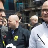 Søren Pape Poulsen, Brian Mikkelsen og Mike Legarth (K) ved Storkespringvandet i København.