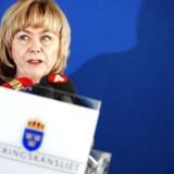 Den svenske justitsminister, Beatrice Ask, fremlægger i dag forslaget om at igangsætte elektronisk overvågning af svenskerne. Arkivfoto: Fredrik Persson, AFP/Scanpix