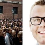 Den nye trofækone må være en mand, skriver Mikkel Freltoft Krogsholm (th). Billedet til venstre er fra immatrikulationsdagen på Københavns Universitet.