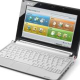 Der er et forrygende salg i mini-PCerne - så stort, at det opvejer faldet i øvrigt. Navnlig Acer (her med Aspire One med Linux som styresystem) og Asus vinder markedsandele. Foto: Acer