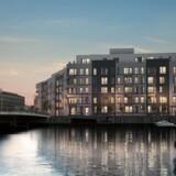 »Teglhusene« på Teglholmen i Københavns Sydhavn omfatter 105 boliger og har en projektværdi på ca. kr. 460 mio. kroner. Projektet er netop blevet udbudt som projektsalgslejligheder, og byggeriet går i gang når der er solgt det fornødne antal boliger. Visualisering: NREP og Arkitektgruppen