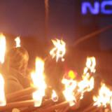 Harme Nokia-medarbejder i fakkeltog ved Nokias fabrik i Bochum.