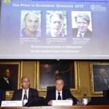 Vinderne af årets Nobelpris for økonomi blev i dag annonceret. De tre amerikanske økonomer vinder for at have givet en øget indsigt og forståelse af, hvordan de finansielle markeder fungerer.