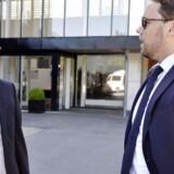 Arvid Andersen, forsvarer for Finn Strier Poulsen (tv) og Andro Vrlic, forsvarer for Henrik Sylvester Larsen foran retten i Hjørring onsdag d. 1 juli 2015.