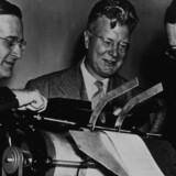 Demonstration af en tidlig udgave af en xerografiprinter med opfinderen Chester Carlson, Joseph C. Wilson og Dr. John Dessauer.