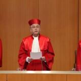 Dommerne ved Forbundsdomstolen i Karlsruhe afsagde tirsdag kendelse om, at Tyskland øjeblikkeligt skal slette de oplysninger, som uretmæssigt er blevet gemt om tyskernes brug af telefoni og Internet. Foto: Michael Latz, AFP/Scanpix