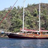 """Vores flotte skib. """"Gulet"""" hedder denne skibstype på tyrkisk - det kan nærmest oversættes med """"skonnert""""."""